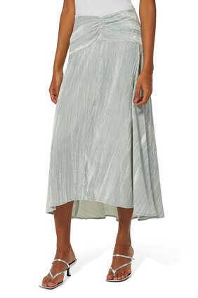 Ruched Velvet Paneled Skirt