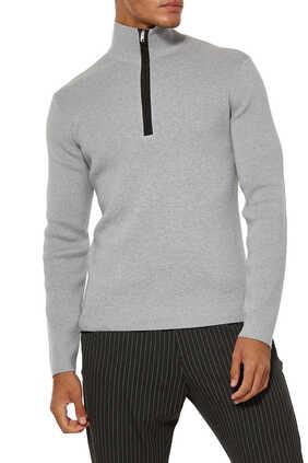Quarter-Zip Wool-Cotton Sweater